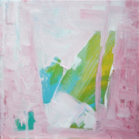 Abstract Expressionist pastel Blue Pink Green painting