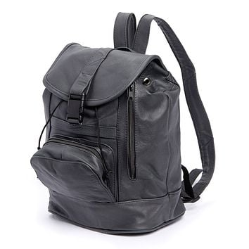 AFONiE Genuine Leather Backpack with Convertible Strap Super Soft Leather Grey Color