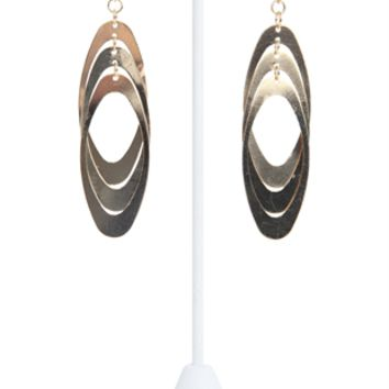 Dangling Oblong Metal Hoop Earrings