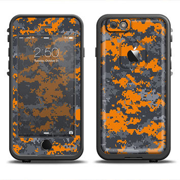 The Bright Orange and Gray Digital Camouflage LifeProof Case Skin Set (Other LifeProof Models Available!)