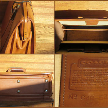 ON SALE Vintage Coach British Tan Leather Triple Gusset Briefbag Trial Case Laptop Ipad Case Bag # 5420 Made in U.S.A. 1994