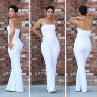White Strapless Lace Flared Leg Jumpsuit