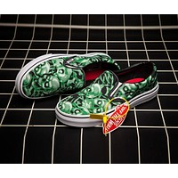 Supreme x Vans Green Skull Pile Slip-On Canvas Flats Skateboard Sneakers Sport Shoes I-CSXY