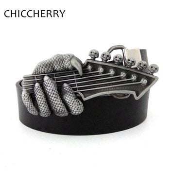 New Fashion Cowboy Cool Mens Belt Hand Claw Skull Punk Rock Music Guitar Big Belt Buckle Metal For Jeans Cinto Cinturon Guitarra