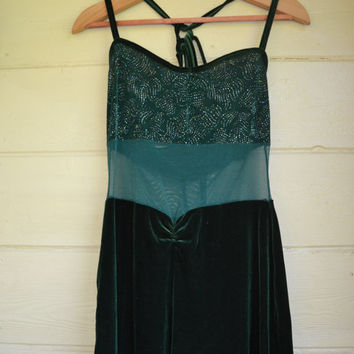 Vintage 80s Emerald Green Velour Jumpsuit with Glitter 80s Does Disco Womens Disco Jumpsuit Dance Costume