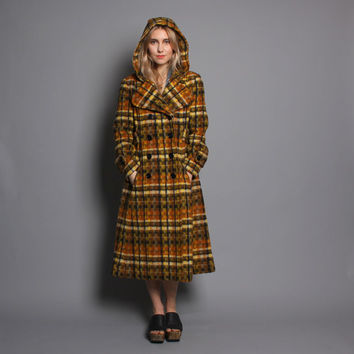 1970s WINTER COAT / Plaid Princess Fit n' Flare with Hood, xs-s