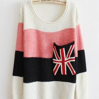 Sweet Round Neck Striped Sweater with Plaid Pocket Pink$30