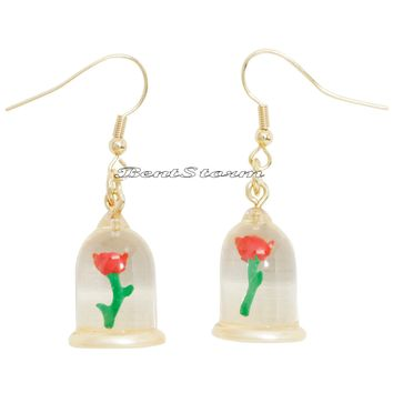 "Licensed cool Licensed Disney Beauty And The Beast ""ENCHANTED ROSE"" Dangle Drop Earrings NEW"