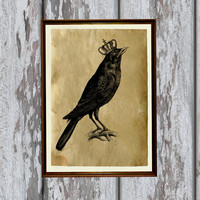 Crow print Old paper Antiqued decoration vintage looking 8.3 x 11.7 inches