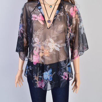 1980s Sheer Floral Top / Vintage Shirt / Stevie Nicks / Festival Style / Witchy Woman