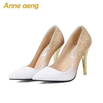 New High thin heels shoes women pumps bling wedding Bridal shoes classic 1cm 5.5cm or 8.5cm pointed toe evening party shoes