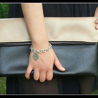 Black and Nude/Beige Foldover Clutch