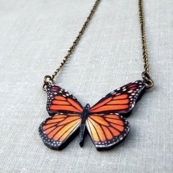 Monarch Butterfly necklace, Colorful orange butterfly necklace, Free Shipping Worldwide, Butterfly jewelry,christmas gift