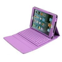 DBPOWER® Purple Leather Case Built-In Bluetooth Keyboard for Apple iPad Mini (DBPOWER Purple)