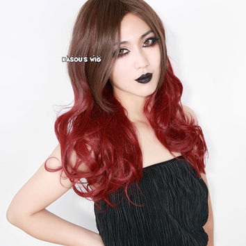 Brown Red  ombre / multicolor 70cm long body wave / curly  cosplay wig with long banss . lady wig . women hair. gothic lolita wig