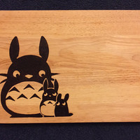 Large hand burned my neighbour totoro pyrography ghibli chopping board