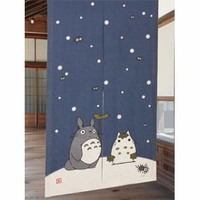 Winter Snow Totoro Linen Noren