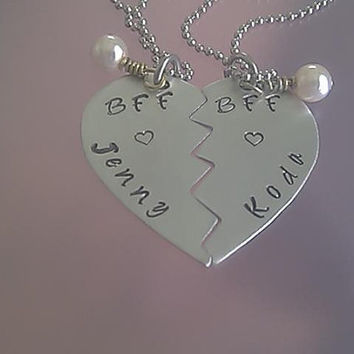 Broken Heart Necklace Set with white glass pearl charm - BFF, mom, daughter, sisters, friends - Aluminum