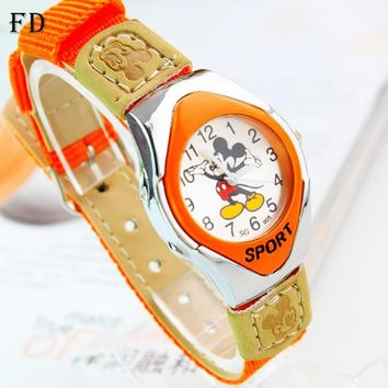 Mickey Sports Watch mouse Pattern Students Fabric Nylon Strap High Quality