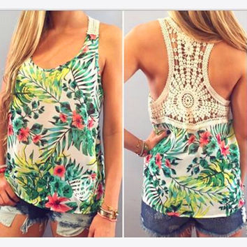 Sleeveless Hollow Out Flower Print Patchwork Scoop Vests