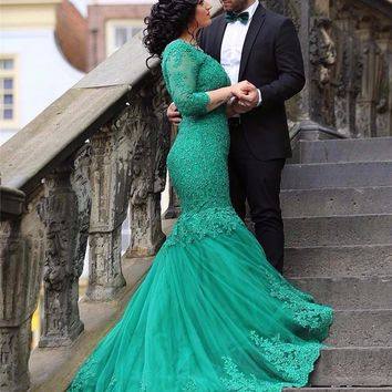 ZGS396 Fashion Dark Green Three Quarter Lace Mermaid Evening Dresses Long V-Neck Prom Dress Vestido