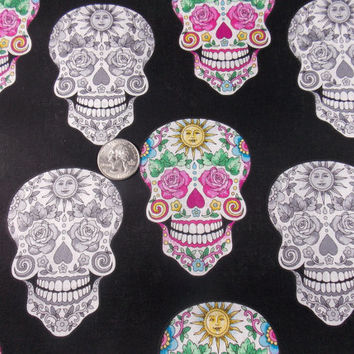 Sugar Skull Fabric Day of the Dead Mexican Fabric Floral Skulls Craft Fabric Quilt Fabric Pillow Fabric Home Decor Cotton Fabric
