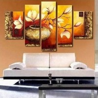 100% Hand-painted Wall Art Free Shipping Wood Framed Elegant Flowers Home Decoration Floral Oil Paintings on Canvas 5pcs/set Unstretch and No Frame