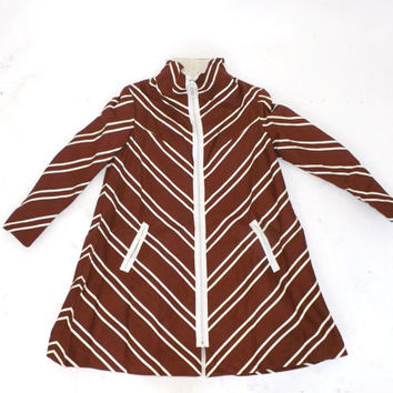 Vintage 1960s Mod Walking Jacket Brown White Chevron Coat Striped Cotton Womens Trench Coat Spring Swing Coat Retro Tent Jacket