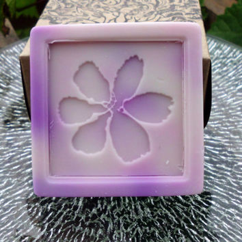 French Vanilla Lavender, Handmade Avocado Cucumber Soap, with Lavender Blossoms. 4 ounces