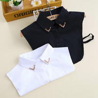 Free Shipping Women Fashion Fake Collar Shirt Metal Fawn Pattern Apparel Blouse False Collar White Black Detachable Collars