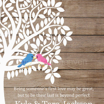 1st Love Wedding Tree Rustic Print- wedding date tree, 1st anniversary gift, canvas anniversary, love birds in tree, rustic wedding