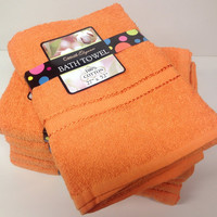 Creative Elegance 100% Cotton  Bath Towels - Bright Orange