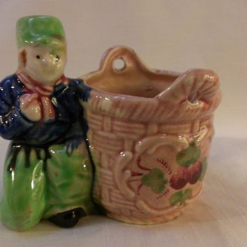 Dutch Boy with Basket Planter, Vase  (744)