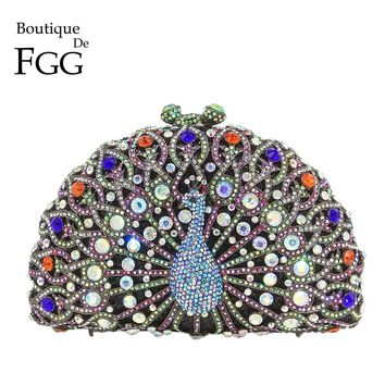 Boutique De FGG Dazzling Multi Crystal Women Peacock Evening Bag