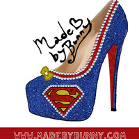 Superman heel design with Crystal Rhinestones,Glitter, & bow. Red Glitter underside - hand painted glitter logos for Heels / Pumps