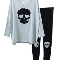 Welity Womens Premium Cotton Punk Skull Pajamas Top Shirt + Leggings Grey
