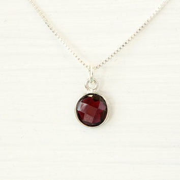 Garnet necklace, sterling silver personalized with genuine dark red garhen bezel gemstone January birthstone necklace birthday gift for her
