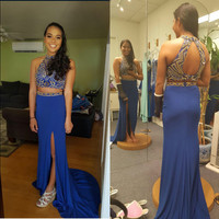 Two Pieces Royal Blue Prom Dress Cocktail Evening Party Dress pst0613