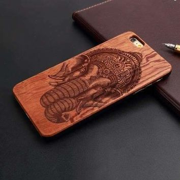 iPhone Natural Wood Case - Painted Indian Elephant