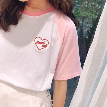 "Embroidered ""Heart Club"" Tee"