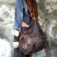 Large leather bag hobo brown pirate style bohemian boho festival tribal high fashion purse sweet smoke free people snake  leather wooden