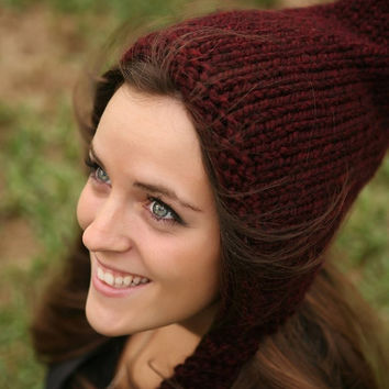 Sale 15 Off  Hand Knit Hat  Pixie Hat in Wine  Winter by pixiebell