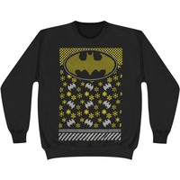 Batman Men's  Christmas Crewneck Fleece Sweatshirt Black Rockabilia