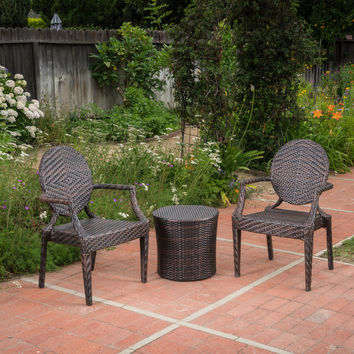 Anaheim Outdoor 3 Piece Multi-brown Wicker Stacking Chair Chat Set