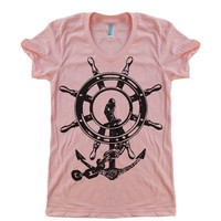 Women's Anchor and Wheel T Shirt - American Apparel 50/50 Poly Cotton - S M L XL (20 Color Options)