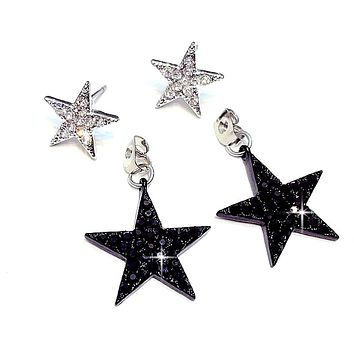 Black and Silver Double Star Post Earrings