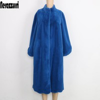 Nerazzurri Fluffy Faux Fur Coat Women Blue Black Pink furry Long Fake Fur Jacket Elegant Winter Outerwear Plus Size 5xl  6xl 7xl