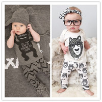 Retail 2015 spring infant clothes  baby clothing sets boy  Cotton little monsters long sleeve baby boy clothes