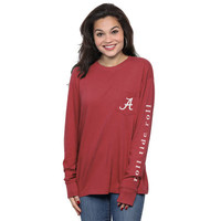 Women's Crimson Alabama Crimson Tide Silhouette Pocket Long Sleeve T-Shirt