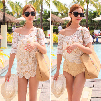 Short Sleeve Crochet Beach Cover Up Knitted Top